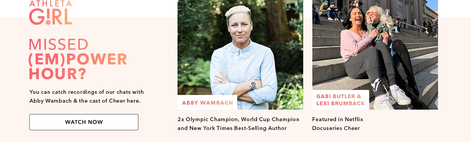 images of Abby wambach 2x Olympics champion, world cup champion and NYT best selling author. Gabi Butler and lexi brumback