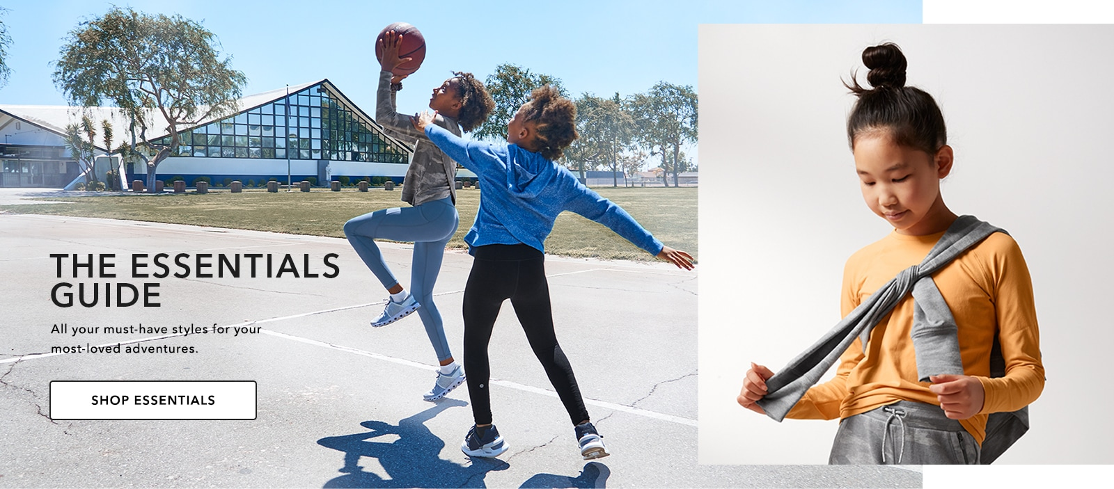 girls playing basketball in essential pieces