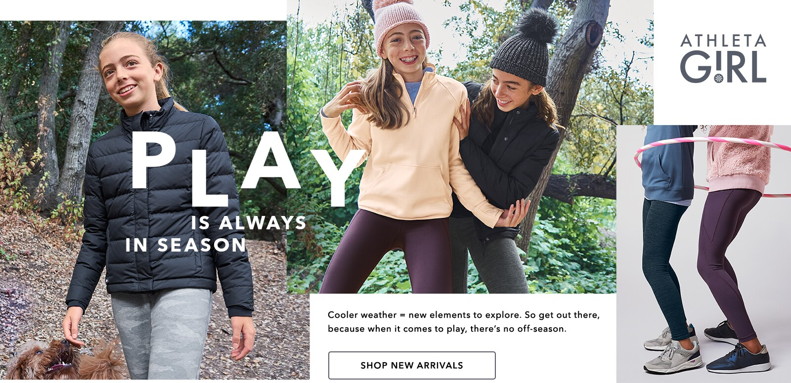 girls playing outside in athleta wear