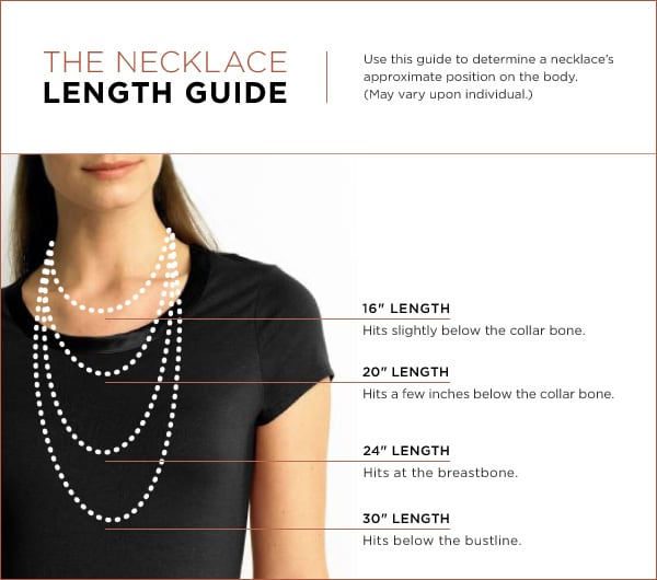 "THE NECKLACE LENGTH GUIDE. Use this guide to determine a necklace's approximate position on the body. (May vary upon individual.) 16"" LENGTH hits slightly below the collarbone. 20"" LENGTH hits a few inches below the collarbone. 24"" hits at the breastbone. 30"" hits below the bust line."