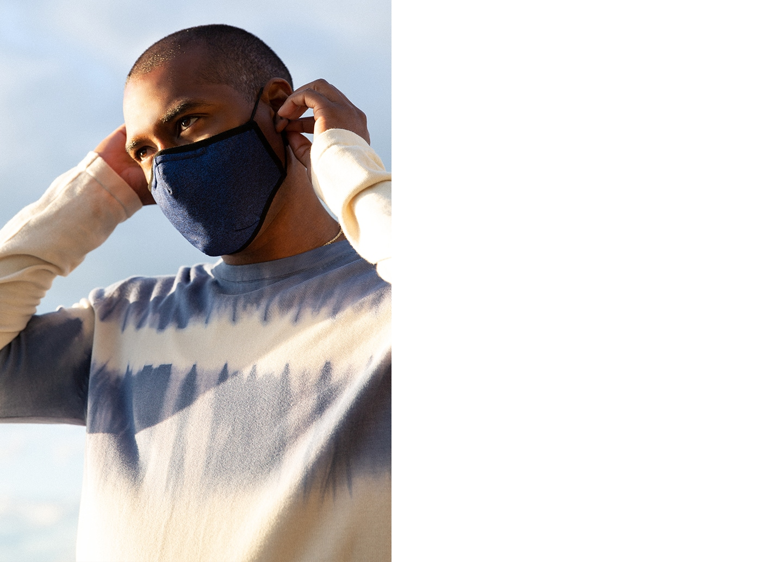 Man wearing BR mask