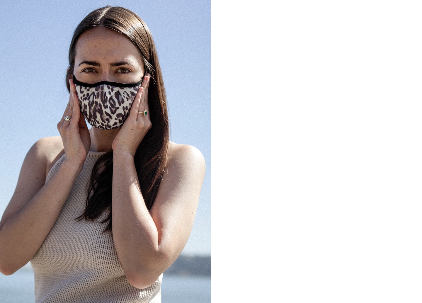 Woman wearing BR mask