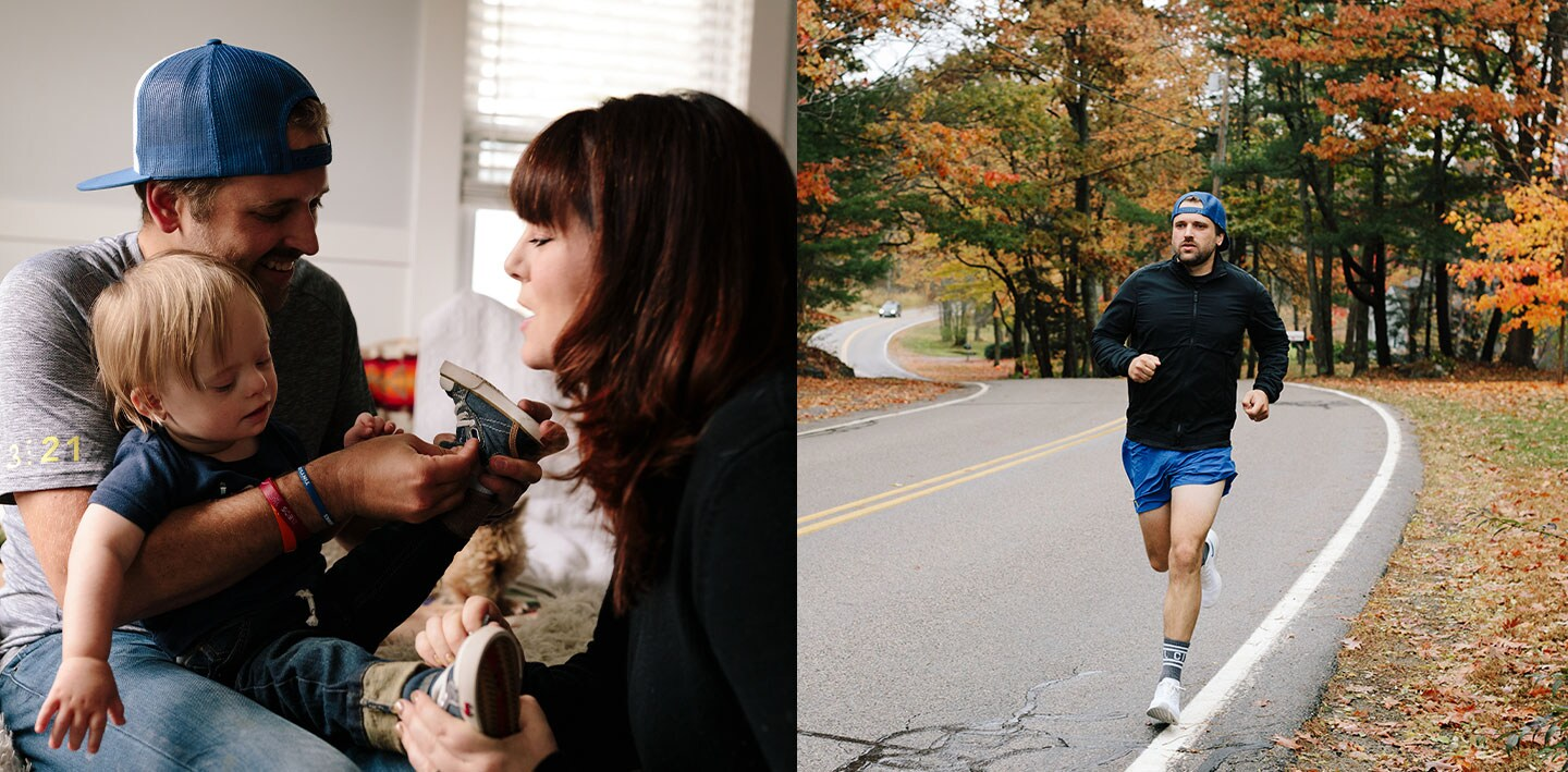 Left: Kitchell holding his son while his wife helps put on his son's shoes; Right: Kitchell running down a road