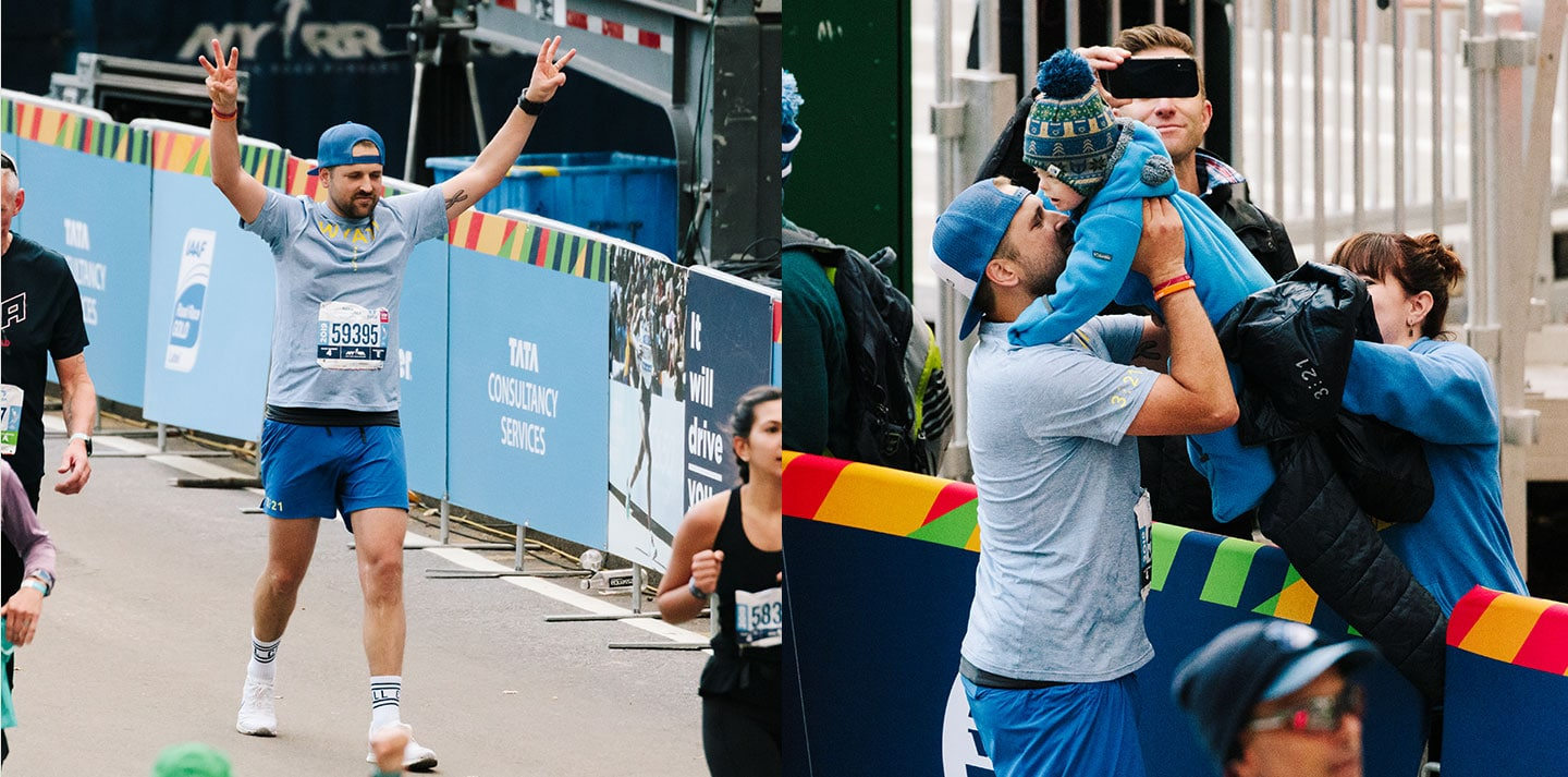 Left: Ketchell passes the finish line; Right: Ketchell embraces his son