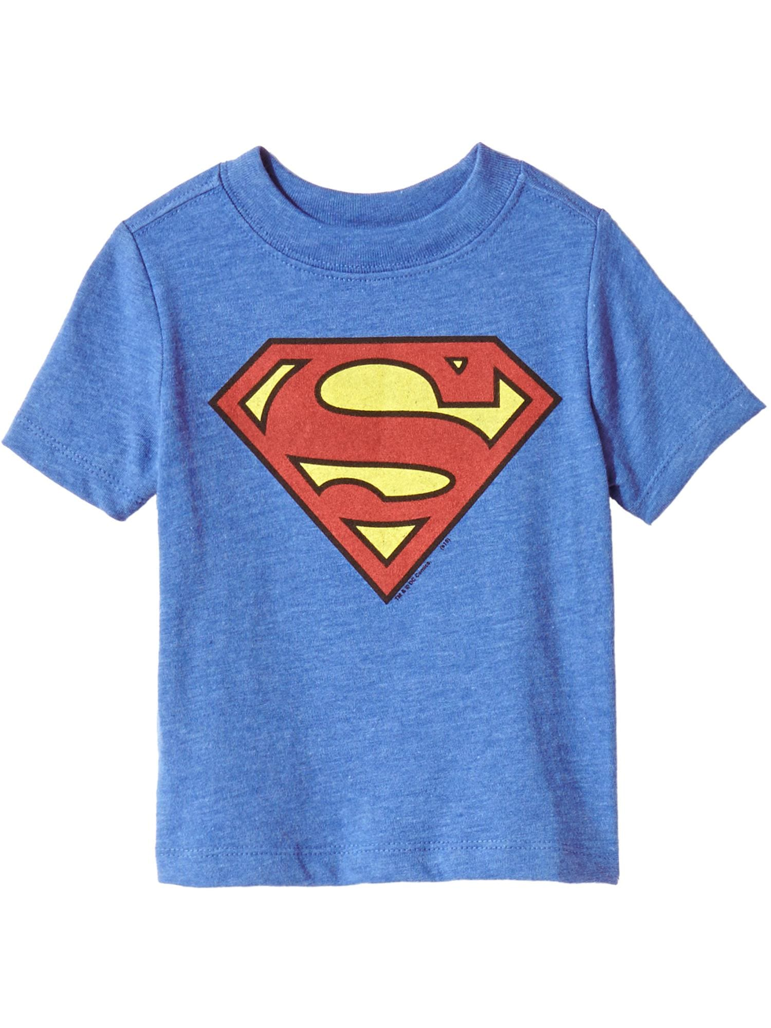Justice League Superman Logo Boy/'s Navy T-Shirt Kids DC Superhero Tee