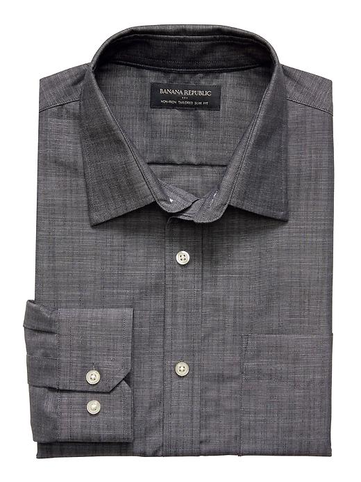 Tailored-Fit Non-Iron Chambray Shirt