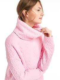 Jacquard Funnel-Neck Pullover Sweatshirt