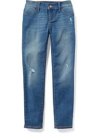 Mid-Rise Rockstar Built-In Tough Distressed Jeggings for Girls