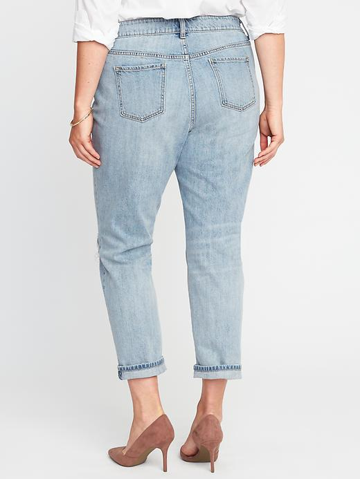 Mid-Rise Plus-Size Boyfriend Skinny Distressed Jeans