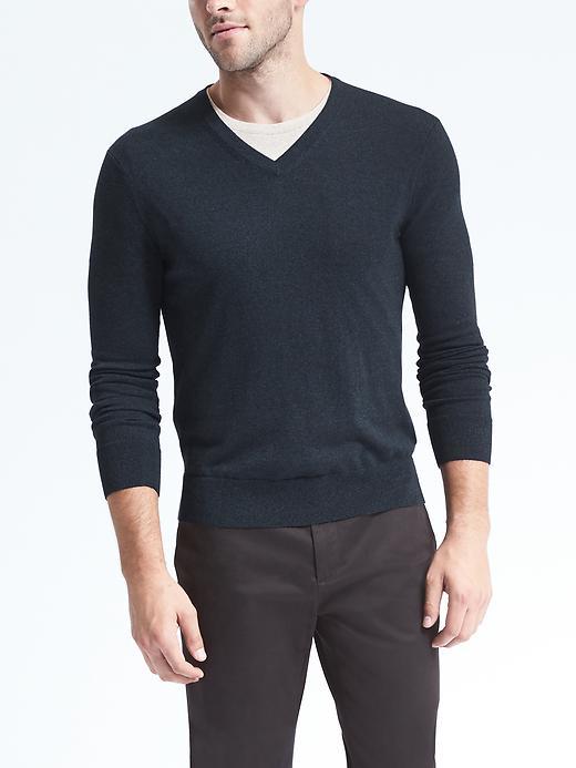 Slim Silk Cotton Cashmere V-Neck Sweater