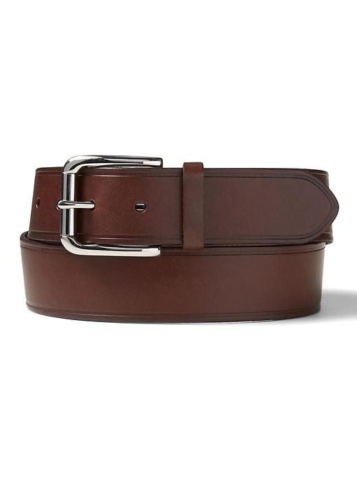 Embossed Edge Leather Belt