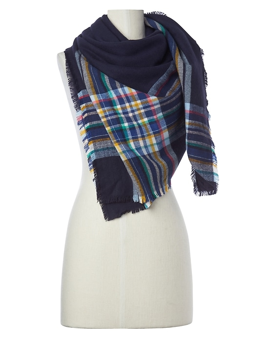 Gap Cozy Womens Oversized Plaid Scarf (Dark Night)