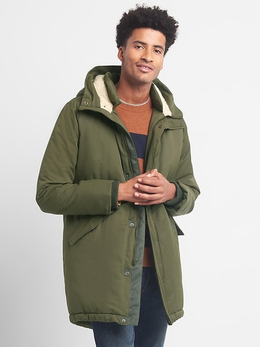 Gap Mens Sherpa-Lined Fishtail Parka