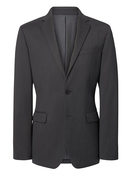 Slim Solid Italian Wool Suit Jacket