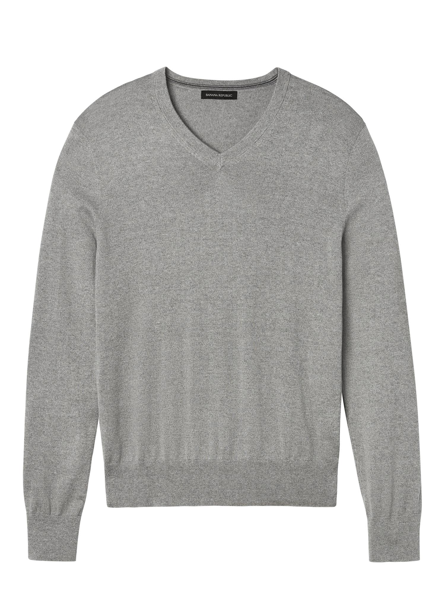Silk Cotton Cashmere V Neck Sweater (Smoke Gray)