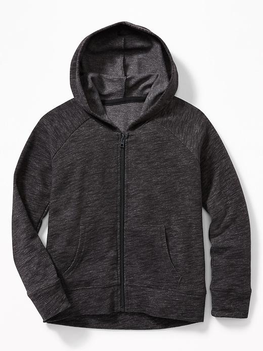 Slub-Knit Raglan-Sleeve Zip Hoodie for Girls