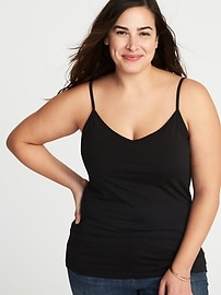 Plus-Size V-Neck Shelf-Bra Cami