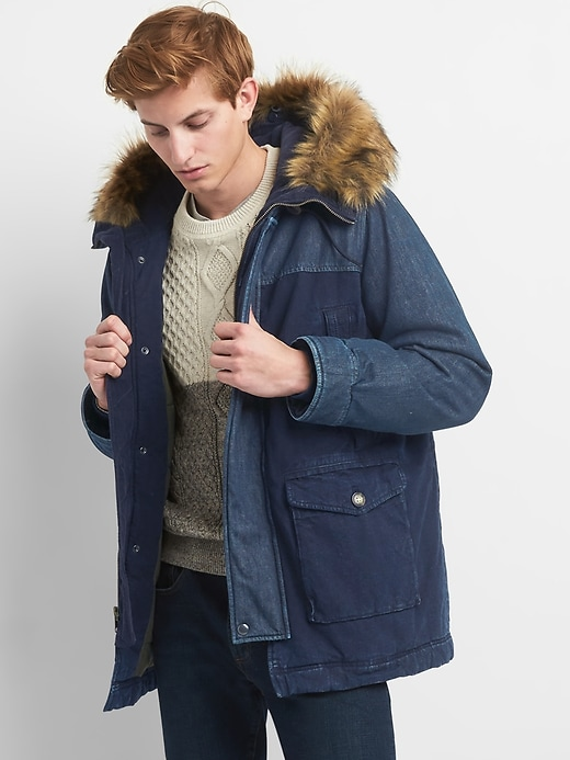 Gap Indigo Colorblock Faux-Fur Mens Parka