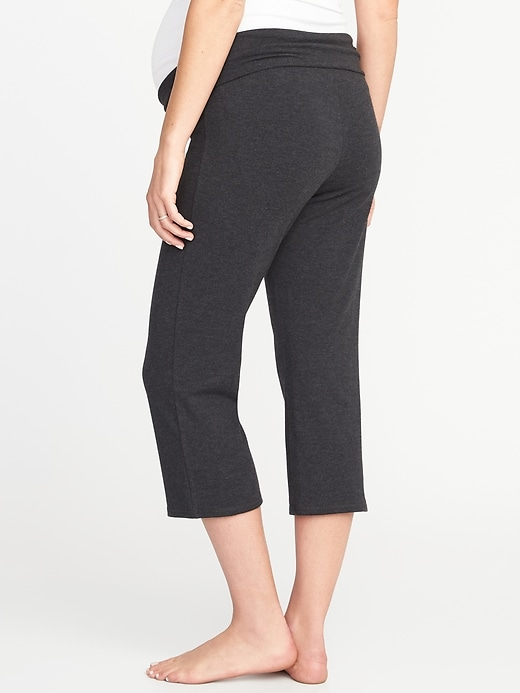 Maternity Roll-Over Wide-Leg Yoga Crops