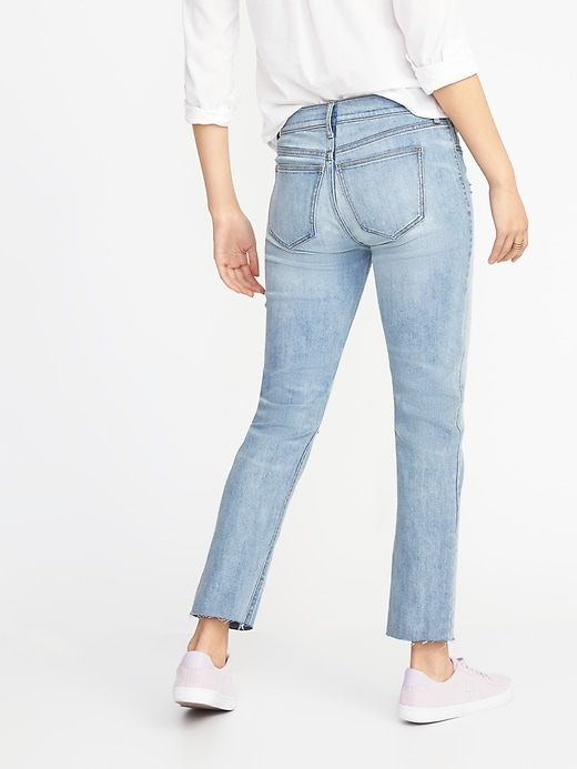 Mid-Rise Distressed Straight Ankle Jeans for Women