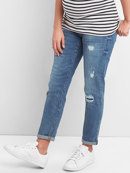 Maternity Inset Panel Repaired Girlfriend Jeans