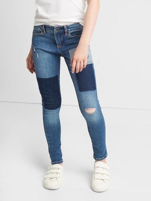 Kids Patchwork Super Skinny Jeans with Stretch
