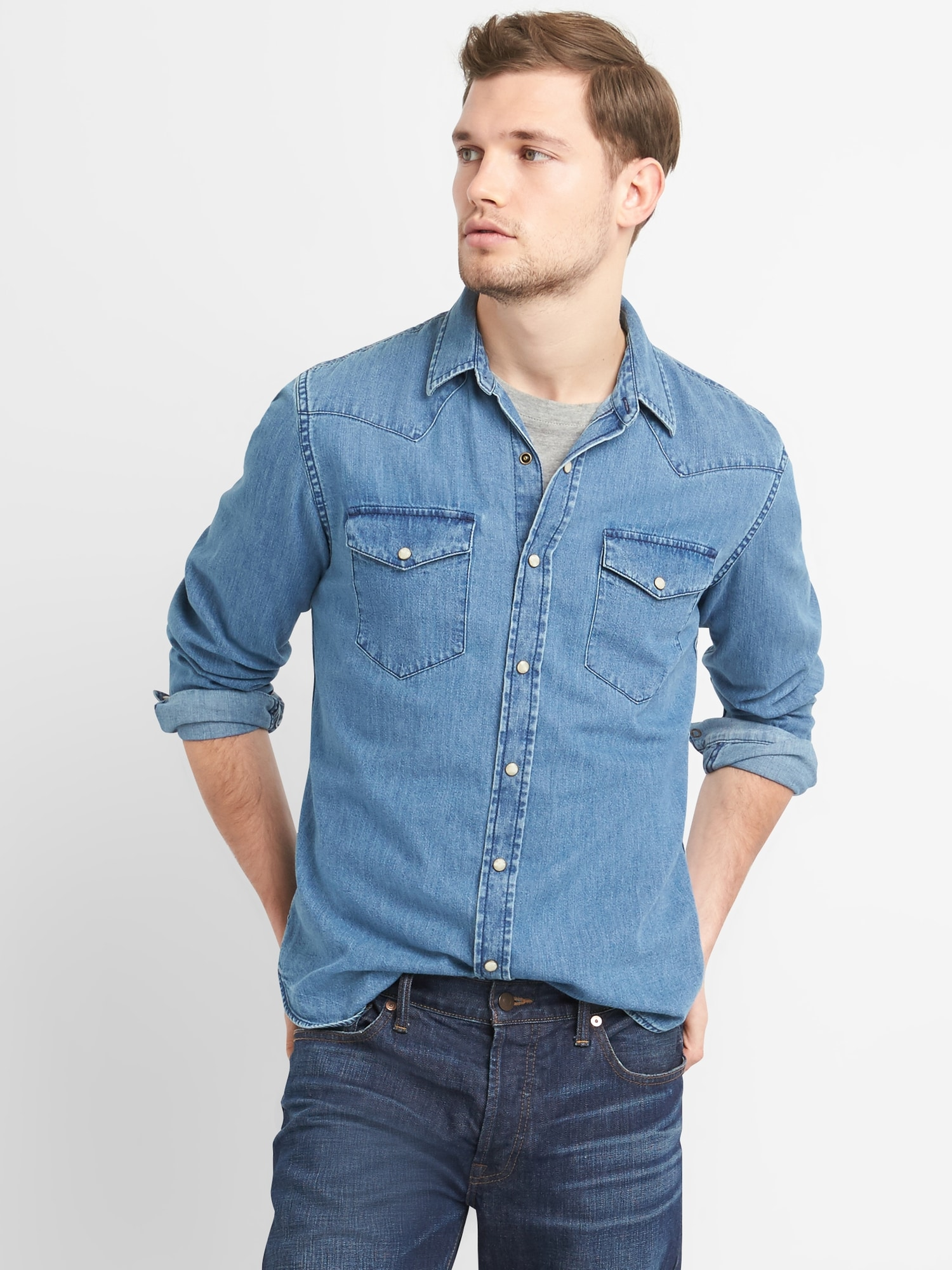 Mens Casual Fit Button Down Shirts Long Sleeve Denim Shirts Western Shirt