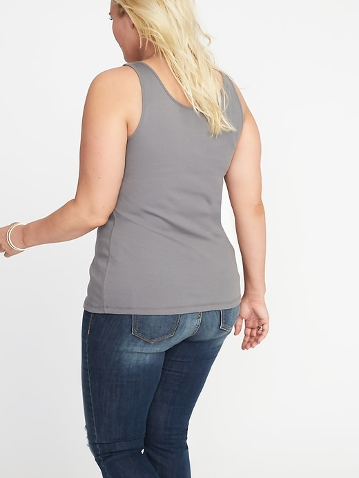 First-Layer Fitted Plus-Size Rib-Knit Tank