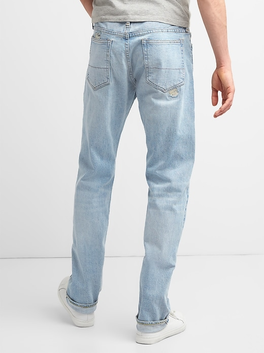 Limited-Edition Distressed Cone Denim&#174 Selvedge Slim Jeans with GapFlex