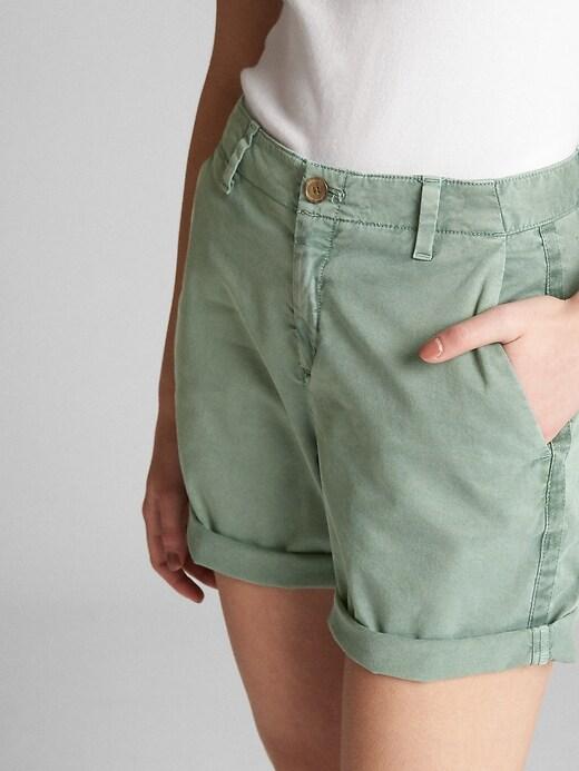 Mid Rise Khaki Shorts