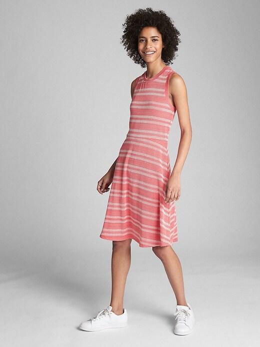Sleeveless Ribbed Stripe Fit and Flare Midi Dress