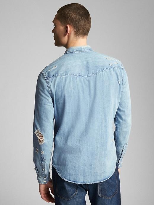 Distressed Denim Western Shirt in Slim Fit