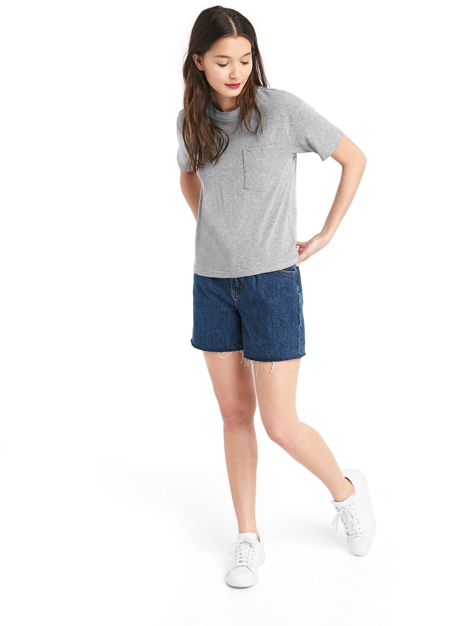 半袖クルーネック ポケットtシャツ