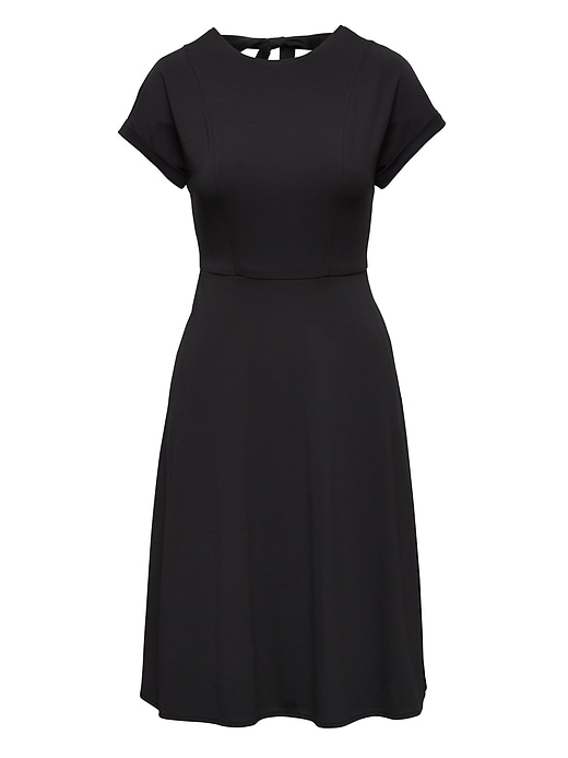 Soft Ponte Tie-Back Fit-and-Flare Dress