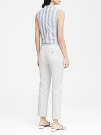 Avery Straight-Fit Stretch Linen-Cotton Ankle Pant