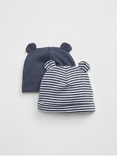 6cb040ae8f9 First Favorite Stripe Bear Hat (2-Pack)