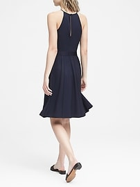 Polka Dot Paneled Fit-and-Flare Dress