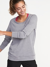 Relaxed French-Terry Keyhole-Back Sweatshirt for Women
