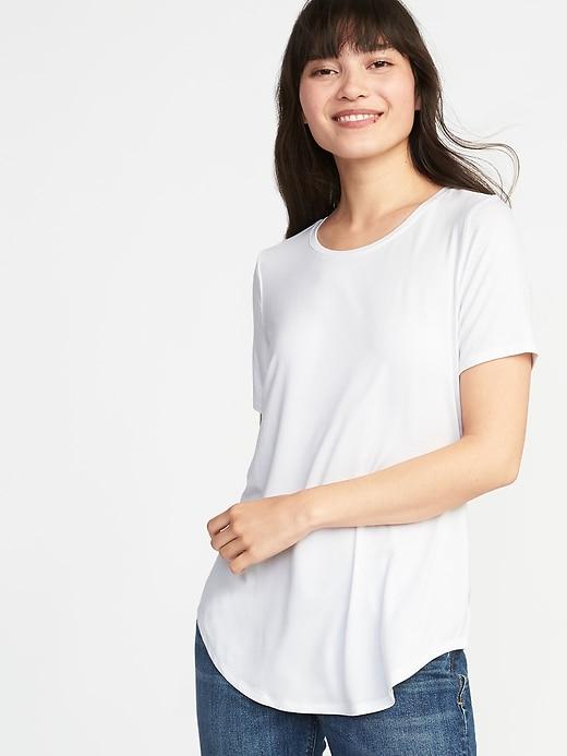 T-shirt ras du cou luxueux et décontracté pour femme