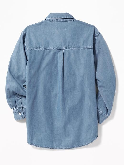 Chambray Boyfriend Tunic Shirt for Girls