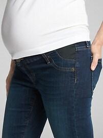 Maternity Destructed Inset Panel Legging Skimmer Jeans