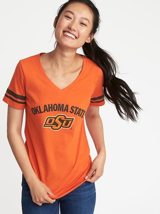 College Team Sleeve-Stripe Tee for Women