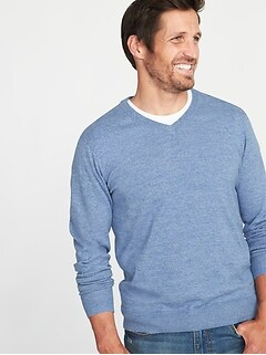 blue shirt green sweater