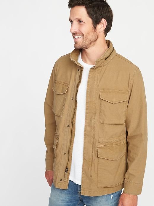 Canvas Built-In Flex Stowaway-Hood Military Jacket for Men