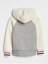 Flippy Sequin Logo Sherpa Hoodie Sweatshirt