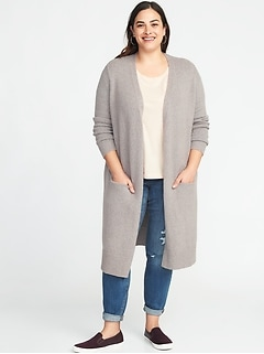 d420e29609 Super-Long Open-Front Plus-Size Thick-Knit Marled Sweater