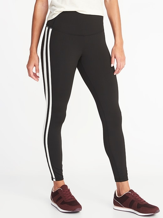 High-Waisted Elevate Side-Stripe 7/8-Length Compression Leggings For Women