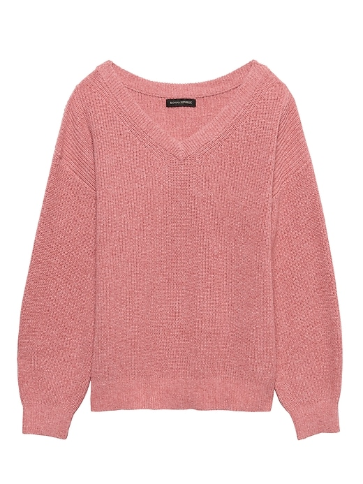 Wool-Cotton Blend Ribbed V-Neck Sweater