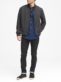 NOUVELLE chemise en coton techno extensible unie, coupe étroite