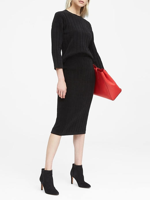JAPAN ONLINE EXCLUSIVE Ribbed Chenille Pencil Skirt